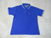 VINTAGE Tommy Hilfiger Shirt Adult Large Blue White Spell Out Flag Rugby Mens *