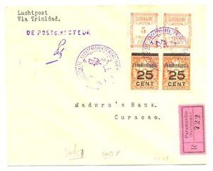 SURINAME 1929-- REG. SPEC FLIGHT CV --TO CURACAO ---F/VF -