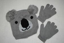 Girls Winter Hat Koala Bear w/ Pom Pom Ears Gray Black Stretch Gloves One Size