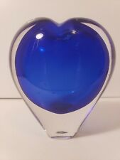 Dynasty gallery collectibles art glass paperweight blue heart vase