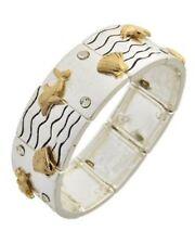 HOPE Coastal Silver Gold DOLPHIN SEASHELL WAVES Stretch Squares Bracelet NWT New