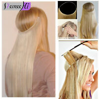 Extra Long Hidden Halo Invisible Wire Weft 100% Remy Human Hair Extension 16-28""