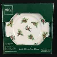 Set of 4 Salad Plates Mikasa Christmas Wish Ultima+ Holly Berry Pinecone HK713