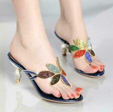 Womens Colorful Rhinestone Sandals Slippers High Heels Shoes Clubwear Mules