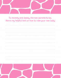 Giraffe Pink - Baby Shower Notes of Advice for Mom - Set of 12