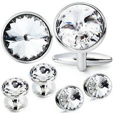 HAWSON Luxury Tuxedo Cufflink Studs Set Sparkly Crystal Cufflinks for Mens