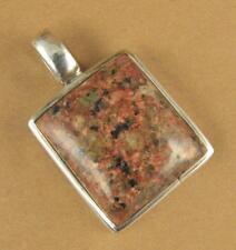 Jasper stone pendant. Mottled brown. Square. Sterling silver 925.