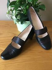 Ladies Hobbs black all leather red stitching Mary Jane court shoes UK 5 EU 38
