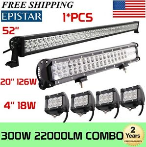 """52Inch 300W LED Light Bar Combo + 20"""" 126W+ 4"""" 18W PODS OFFROAD FORD TRUCK SUV"""