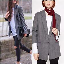 Zara Grey Oversized Blazer Jacket Size Large Ref 2753/226