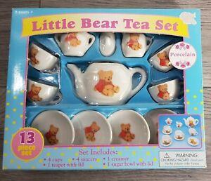 Vintage Child's Porcelain Teddy Bear Tea Set Battat Inc. ~ Brand New in Package!