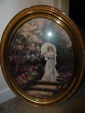 Homco Girl Walking in the Garden Gold Oval Frame