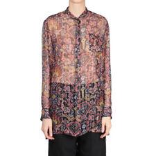 Dries Van Noten Sz 36 'Calybe' Silk Chiffon/Lurex Button-Front Shirt