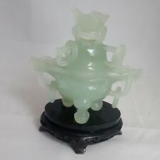 Antique Green Jade Dragon Incense Burner w/ Stand - Rings- Ships FAST!!
