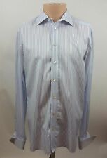 Eton Men's Contemporary Fit Blue White Striped French Cuff Dress Shirt Size 16