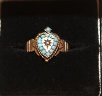 Antique Gold Flaming Heart With Turquoise Stones Ring