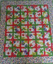 """Happy Wings Butterfly Caterpillar Child Baby Quilt 39�x45"""" Homemade Cotton"""