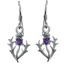 Pendientes de joyería con gemas de plata de ley amatista plata