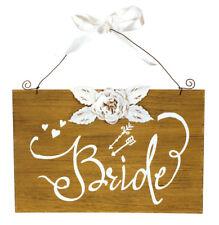 Wedding Bliss Bride & Groom Pair Sign Plaque Chair Art  Decor Wood 12'' L x 8''W