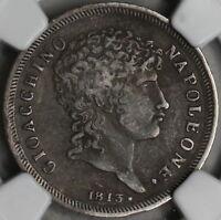 1813 NGC VF 30 Naples & Sicily Silver 1 Lira Italy Napoleon Coin (16111811C)