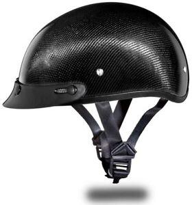 Daytona Skull Cap Carbon Fiber Half Helmet with Visor Quick Release DOT 2XS-4XL