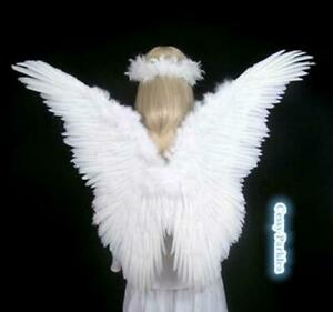 Large Angel Feather Wings Fancy Dress Costume Accessories White Black Pink Blue