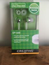 Creative EP-660 Headphones Earphones Earbuds Enhanced Bass Green NEW
