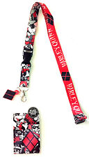 DC COMICS HARLEY QUINN RUBBER CHARM LANYARD BADGE ID HOLDER KEYCHAIN SUBLIMATED