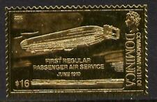 2777 Dominica 1978 HISTORY of AVIATION in GOLD FOIL - ZEPPELIN   u/m