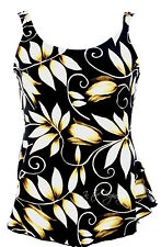 Maxine of Hollywood 14 Black Floral One Piece Skirted Swimsuit Swim Dress