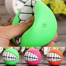 New listing Funny Pet Dog Ball Teeth Silicone Chew Squeaker Squeaky Sound Dogs Play Toys one