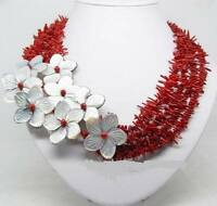 Charming !!! 2019 Hot Natural Red Coral Shell Flower Necklace