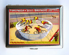 Vintage Circus Poster Cigarette Case Business Card Holder victorian bike riders