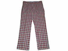 Polo Ralph Lauren Red White Tartan Plaid Flat Front Chino Prep Pants 35 x 32