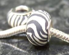 1 x Zebra Print Fimo grano de encanto europeo