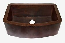 Farmhouse Curved Apron Front Kitchen Copper Sink in Cafe Viejo Finish