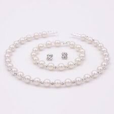 Wedding Bride Bridesmaid Pearl Crystal Choker Necklace Bracelet Earrings Jewelry