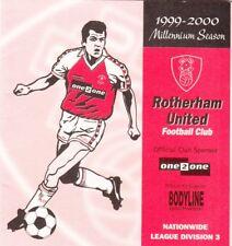 Fixture List - Rotherham United 1999/2000
