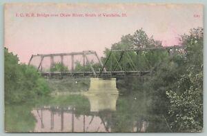 Vandalia-Shobonier~Central Illinois 2-Span Railroad Bridge~Kaskaskia River~c1910