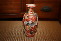 Vintage Japanese Moriage Satsuma Pottery Vase Small Size Multi Color Designs