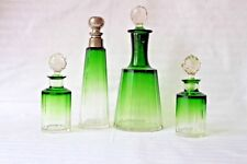 Antique Moser 1920-1930 green to clear perfume dresser set