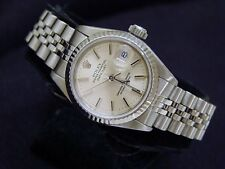 Rolex Datejust Ladies Stainless Steel Watch 18K White Gold Jubilee Silver 69174