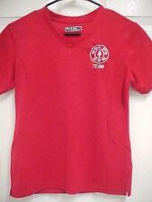 """GOLD'S GYM Team """"Just Ask Me"""" Women Red Pullover V Neck Shirt S Sport-Tek"""