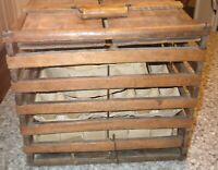 Vintage HUMPTY DUMPTY EGG CARRIER WOOD SLATS  PRIMITIVE BOX CRATE Michigan