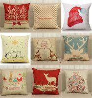 Cotton Linen Christmas Deer Pillow Case Cushion Cover Home Car Xmas Car Decor