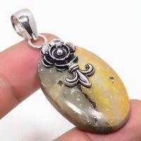 "BumbleBee Jasper Handmade Ethnic Style 925 Silver Jewelry Pendant 1.97"" VJ-1587"