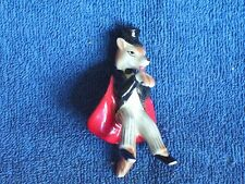 Bone China Red Fox Figurine Dressed Like a Man in Top Hat Tails & Red Lined Cape