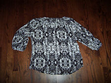 APT 9 black and white size medium M MED sheer blouse top shirt with buttons