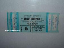 ALICE COOPER / SUZIE QUATRO Unused 1975 MINT Concert Ticket JACKSON MS Rare