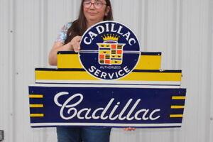 "Large Cadillac Service Car Dealership Gas Oil 2 Sided 36"" Porcelain Metal Sign"